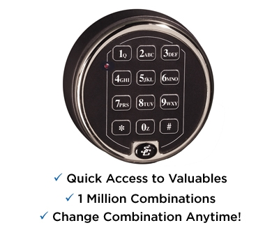 Home Safes Feature S&G low profile electronic lock for quicker access
